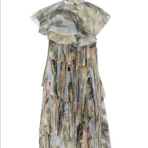 AJE Sunray Asymmetric Printed Chiffon Dress